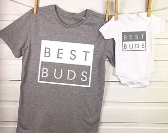 Best Buds Father and Son matching set - Clothes set for dad and child - for dad and baby - Father's Day outfit - Best Buds grey & white set