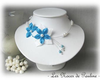 Turquoise and white bridal satin Julia flower has