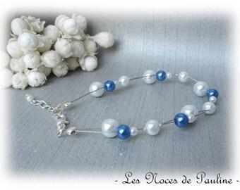 Blue and white wedding bracelet jewelry, Alice wedding, bracelet beads