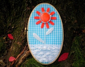 Vintage Enamel Flower & Blue Gingham Fabric Hoop Art - Upcycled Red Daisy Brooch + Retro Fabric and Lace Wall Art Hanging / Home Decor Gift