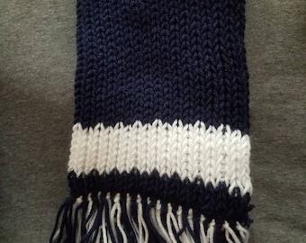 Dark blue and white scarf