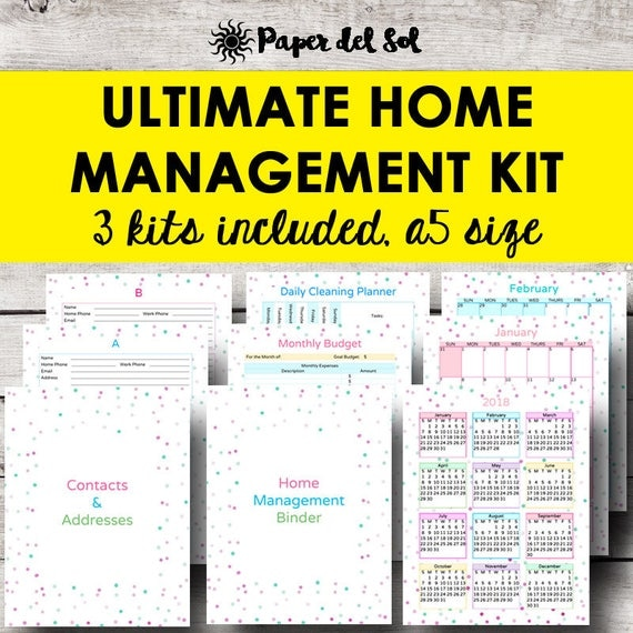 Home Management Planner A5 Household Binder Printable Home