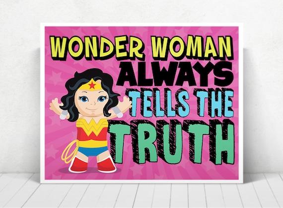 Superhero Wonder Woman Wall Art / Wonder Woman Kids ART  / Wonder Woman Always Tells The Truth / Wonder Woman