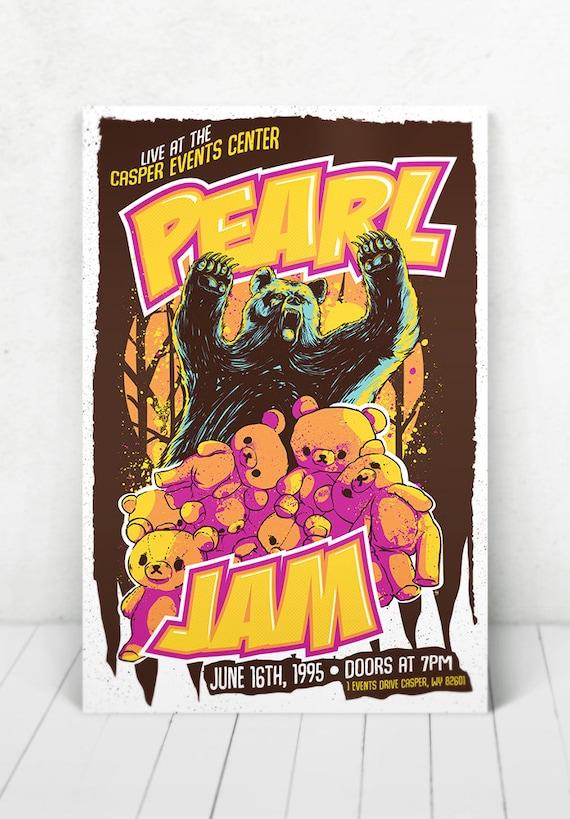 Pearl Jam Concert Poster - Illustration [Pearl Jam / Casper Events Center - Casper, WY - June 16, 1995]
