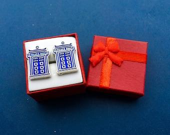 Dr Who TARDIS Police Call Box Cufflinks Set~Brand New