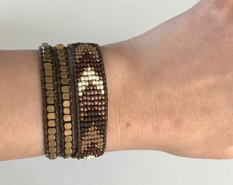 Bronze and Gold Single Wrap Bracelet