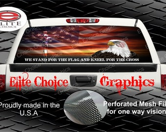 Stand For The Flag Rear Window Graphic Tint Decal Sticker Truck SUV Van Car