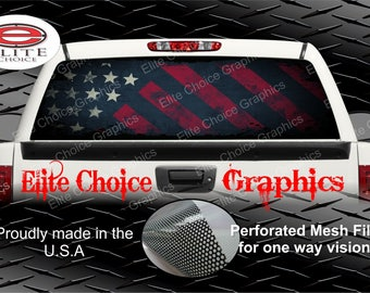 Distressed American Flag Grunge Rear Window Graphic Tint Decal Sticker Truck SUV Van Car