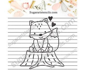 Fox PYO cookie stencil valentine's day NB600193