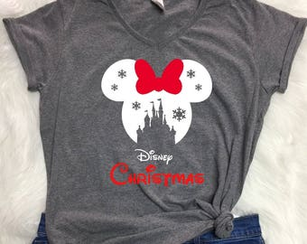 Disney SNOWFLAKE CASTLE in RED Christmas V-neck shirt, Ladies Christmas shirt, Disney Christmas shirt, Disney inspired, winter wonderland