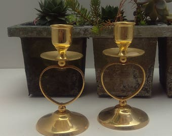 Gold plated set of candle holders as charm to your home, romantic gold open heart design, add sparkle to your table, candle holder