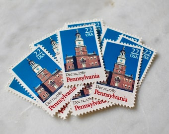 Pennsylvania Stamps | 10 Unused Vintage Postage Stamps | 22 Cents | 1988