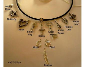 Black Leather Choker, Black Choker, Charm Choker, Black leather Necklace, Black Suede Choker, Charm Necklace, Gothic