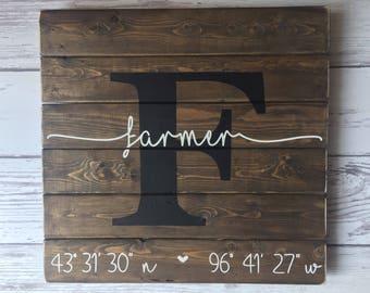 Latitude Longitude Sign GPS Coordinates Sign Pallet Wood Last Name Sign, Family Name Sign, Housewarming Gift, Anniversary Gift, New Home