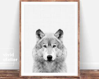 Wolf Print, Wolf Poster, Woodlands Animal Print, Black and White Forest Animals, Nursery Animal Photo Prints, Nursery Wall Art Printables