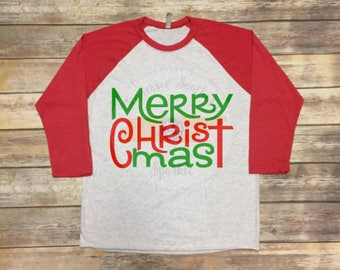 Merry Christmas Shirt | Christmas Shirt | Merry Christmas Raglan | Christmas Raglan | Holiday Shirt