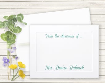 Teacher Gift, Embossed Panel Flat Note Cards, Personalized Stationery Set, Personalized Teacher Gift,  Thank You Cards, Teacher Notecards