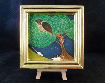 The Owl. Original egg tempera miniature painting with gold leaf. Gift for husband, gift for man, father's day.