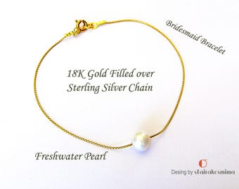 One Pearl Bracelet, Real Freshwater Pearl, Single Pearl, Dainty Pearl, Sterling Silver, Yellow or Rose Gold Filled Chain, Bridesmaid Gift
