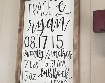 Birth Announcement Sign// Nursery Decor