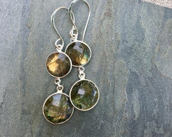Labradorite  earrings / Sterling silver dangle labradorite earrings / Double round labradorite gemstone / Wedding earrings / Bridal earrings