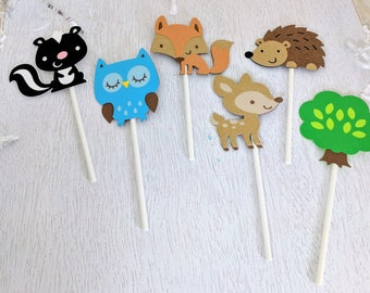 Woodland Cupcake Toppers, Forest Cupcake Toppers, Wildlife Party, Woodland Birthday, Baby Shower