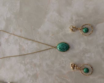 1960's faux turquoise earring and necklace set