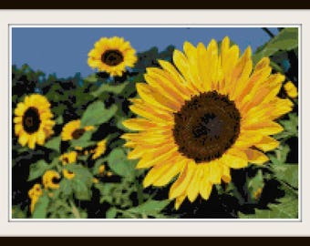 Sunflower Cross Stitch Pattern - Flower Pattern - PDF Download Instant Access