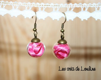 Pink Ribbon globe earrings