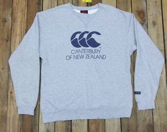 Vintage 90's CANTERBURY Rugby Sweater Large Vintage Canterbury Of New Zealand All Blacks Rugby Gray Sweatshirt Jumper Size L