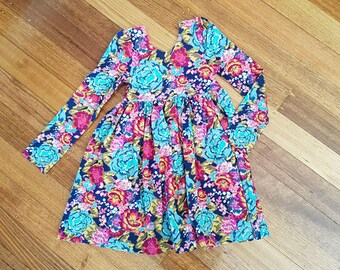 CUSTOM MADE - Adelyn Longsleeve Girls Dress - Knit Dress - Girl Dress - Girls Clothing - Longsleeve Dress
