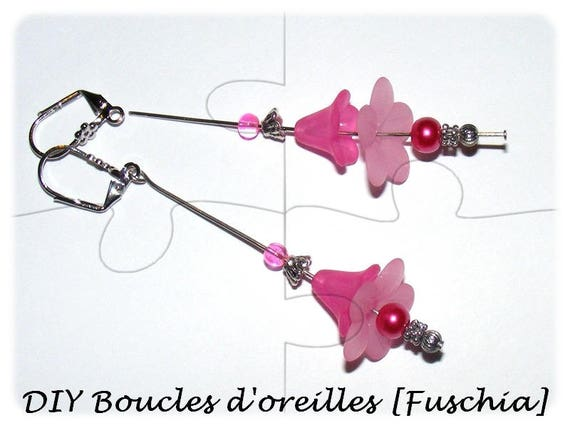 """DIY"" Kit earrings to make yourself [Fuchsia]"