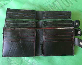 Inner Tube 8 card wallet with clasp, Vegan Wallet, Upcycled Wallet, Fair Trade Wallet,
