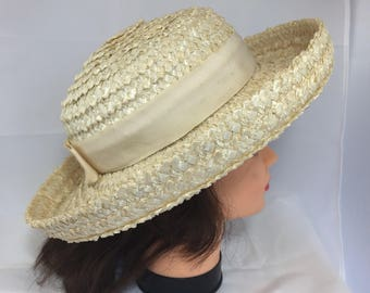 Betmar Summer Hat Woven with Ribbon Band 1960s