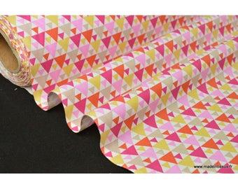 100% cotton Poplin drawing TIGAYA pink 160cm 110 gr/m²