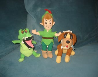 Disney Set of 3 Characters from Peter Pan/ Beanie Babies/Plushies from the 1990s