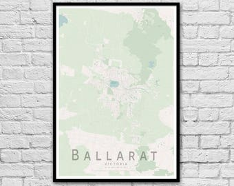 Ballarat VIC City Street Map Print | Wall Art Poster | Wall decor | A3 A2