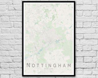 NOTTINGHAM Map Print | England City Map Print | Wall Art Poster | Wall decor | A3 A2