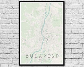 BUDAPEST Map Print | Hungary City Map Print | Wall Art Poster | Wall decor | A3 A2 16x20
