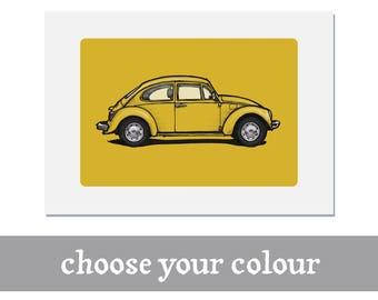 VW Beetle print   Personalise   Volkswagen   Bug   Classic   Vintage   Illustration   poster