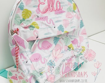 Personalised childrens/toddler backpack - flamingo - Perfect for preschool/nursery/school