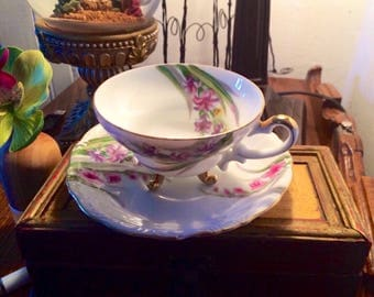 Vintage Hand painted Tea Cup and Saucer
