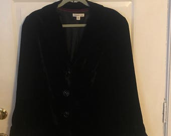 Coldwater Creek Black Velvet Long Blazer Jacket in a size 18