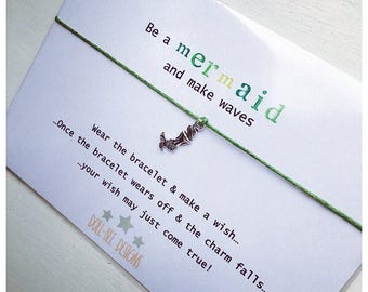 Wishing Bracelet 'Be a Mermaid and make waves' Wish Bracelet Gift