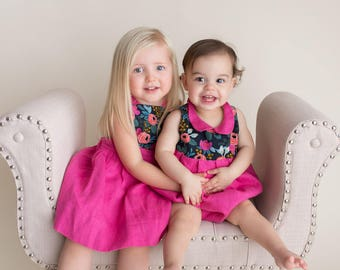 Hot Pink Girls Dress - Matching Sisters Outfits - Girls Sibling Outfits - Big Sister Little Sister - Sister Dresses - Valentines Day