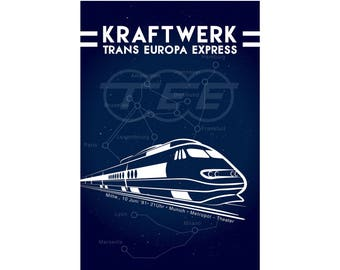 "KRAFTWERK Trans Europe Express Poster Ultra-High Quality Archival Print  24"" x 24"""