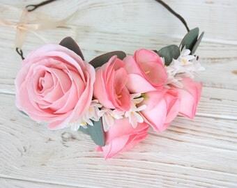 Flower bride long hair wreath, floral rose head wreath, blush pink eucalyptus rustic wedding floral crown, simple dainty flower half crown