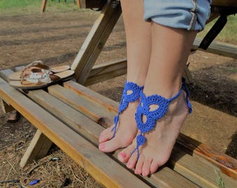 Crocheted Barefoot Sandals - Blue Barefoot Sandals - Beach Sandals - Beach Wedding - Foot Jewellery - Yoga - Boho Sandals