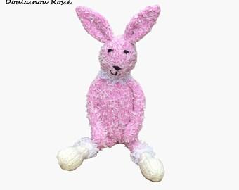 Pink plushie toy, rabbit velvet with lace, Doulainou Rosie