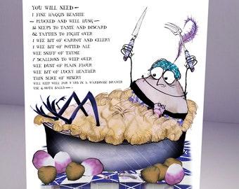 haggis and ale pie fun greeting card